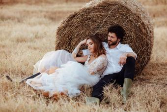 Bride and groom in harvest themed wedding