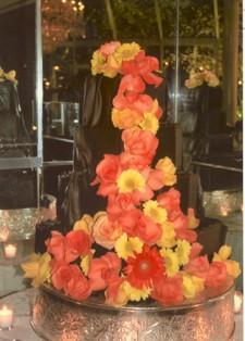 Chocolate wedding cake with autumn floral cascade