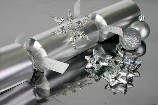 Silver foil and ornaments for making wedding favors