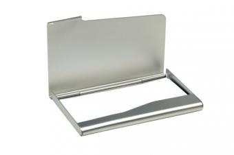 Image of a silver business card case
