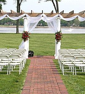Outdoor wedding venue ready for ushers to seat guests