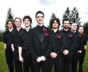 Wedding photo of the groom and his groomsmen