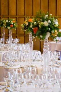 Wedding tables with wine glasses