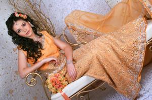 Bride wearing a gorgeous Indian wedding dress