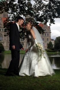 A couple celebrating their wedding at a Texas castle