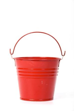 Red ring bearer pail for a beach wedding