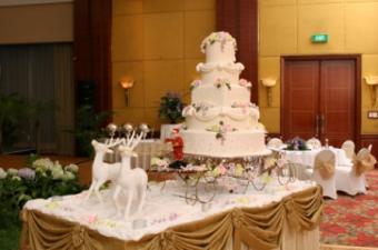 Reindeer pulling wedding cake