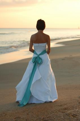 Bride in a beach wedding dress