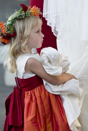 Tangerine Flower Girl Dress, copyright Pegeen Formal Wear for Children
