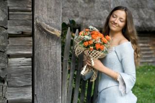 Bride having a summer country wedding