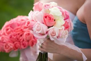 Pink and white rose spring wedding bouquets