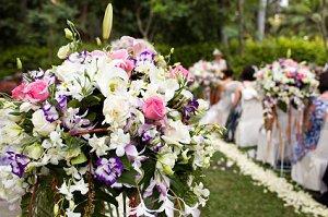Beautiful flowers at a backyard wedding