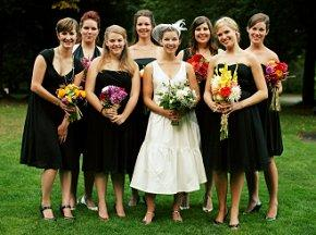 Bride with bridesmaids wearing informal black cocktail dresses