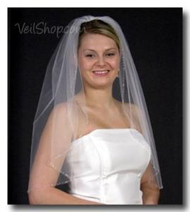 Bride wearing a custom embellished veil