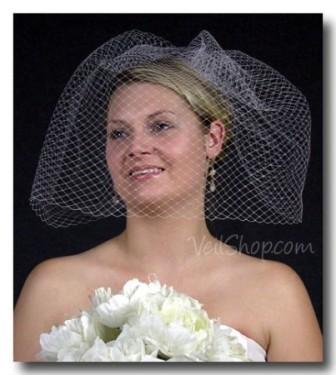 Bride wearing a French cage net veil