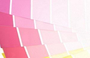 Paint chips showing multiple shades of pink