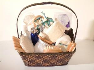 Spa gift basket for wedding guests