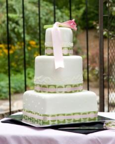 Photo of a 3-tier fondant-covered wedding cake