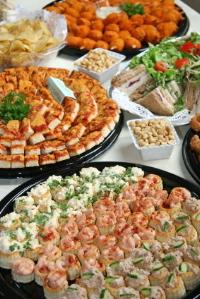Homemade foods on a wedding reception buffet table
