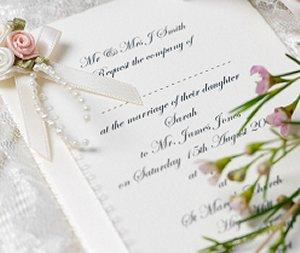 Wedding invitation printed with an elegant font