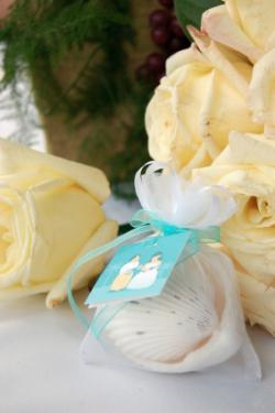Sheer wedding favor bag with seashells