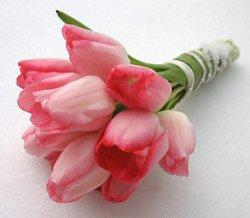Wedding bouquet of two-tone pink tulips