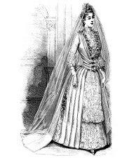 Illustration of a Victorian bride in her wedding dress