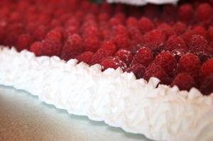 Sheet cake with fresh raspberries on top