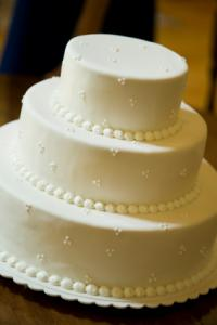 Simply decorated wedding cake