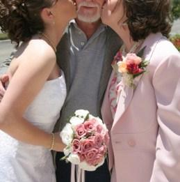 Bride kissing grandpa