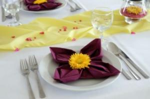 purple and yellow napkins