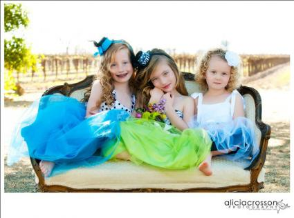 Children in flower girl dresses