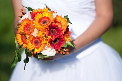 yellow, red, orange bridal bouquet
