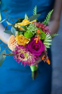 blue bridesmaid dress and bright bouquet