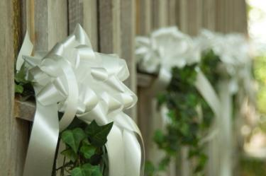 Barn ledges decorated with wedding ribbons