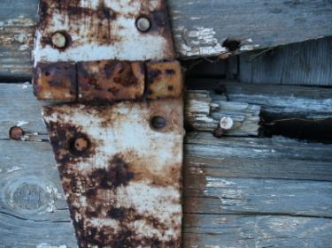 Rusty barn door hinge
