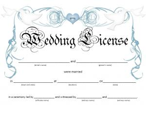 Doves Wedding License