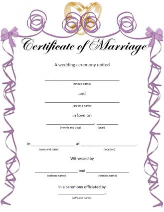 Printable Wedding Certificates For Fun
