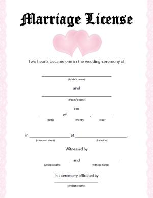 What does a marriage license look like