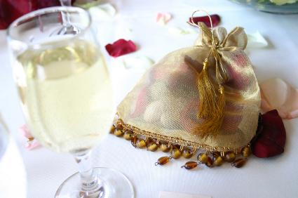 gold fabric wedding favor bag