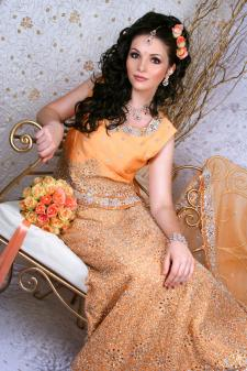 peach wedding sari