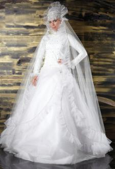Muslim wedding gown with head covering