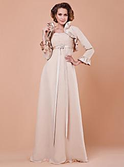 Sheath/Column Square Floor-length Satin and Chiffon Dress from Light in the Box