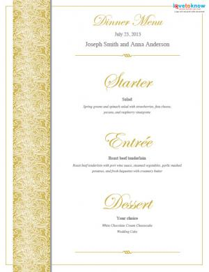 gold menu template