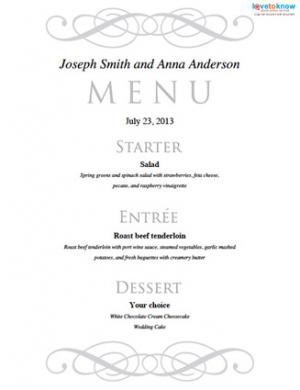 Free printable wedding menu templates lovetoknow for Wedding menu cards templates for free