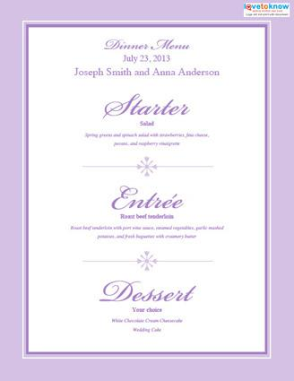 free printable wedding menu templates