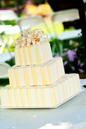 yellow three tier wedding gift cake