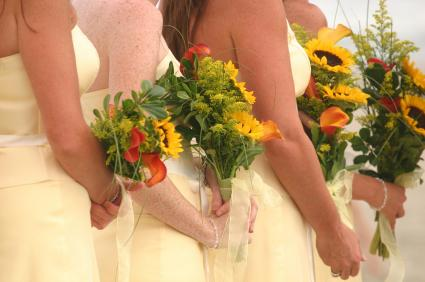 Bridesmaids on a beach