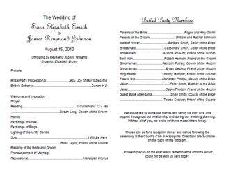 Free Wedding Program Templates - 5x7 wedding program template