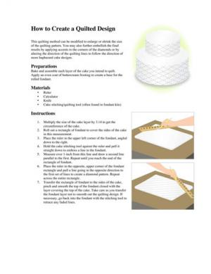 Quilted cake design instructions